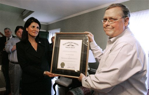Back in October, Nikki Haley gave Jim the Order of the Palmetto -- which frankly made me feel better about Nikki than I had in awhile.