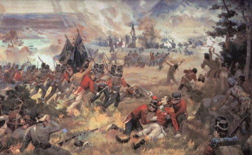 General Brock was mortally wounded, but his redcoats won the Battle of Queenston Heights.