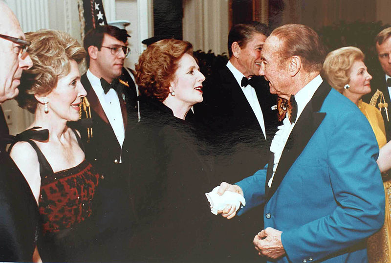 Then-PM Thatcher in 1981 greeting Strom Thurmond. Check out Strom's sharp evening attire.