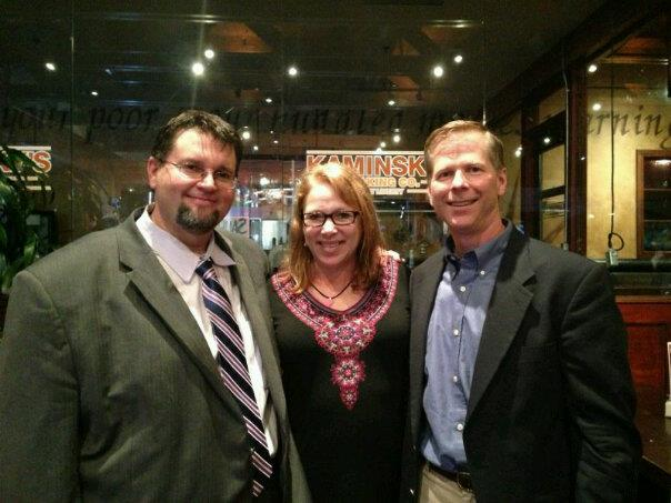Scott English, Clare Morris and Keith Munson on election night.
