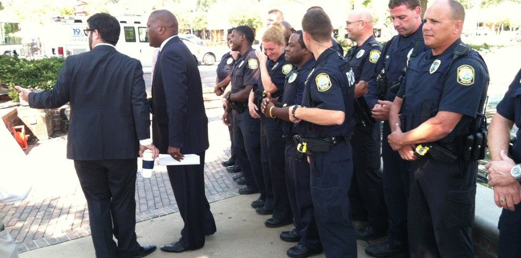The mayor, (rightly) injecting some politics into policing in Five Points, back in September 2012.