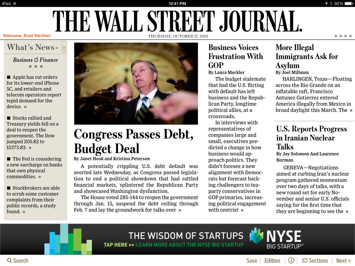 Lindsey Graham was pictured on the front of the WSJ this morning (at least, the iPad version), presumably because he was part of the solution. Joe Wilson was not.