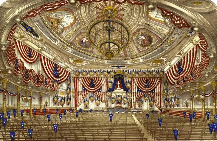 Tammany Hall, decorated for a national convention in 1868.