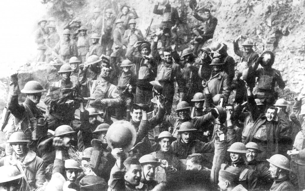 Doughboys of the 64th Regiment celebrate the news of the Armistice, November 11, 1918