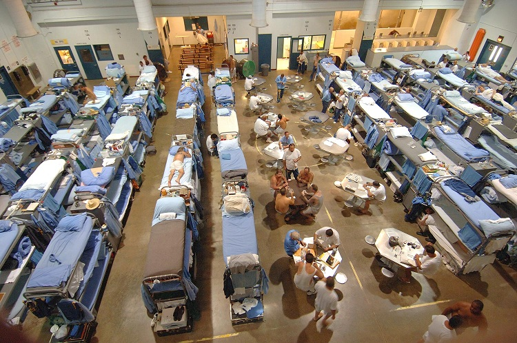 The badly overcrowded San Quentin Prison in California.