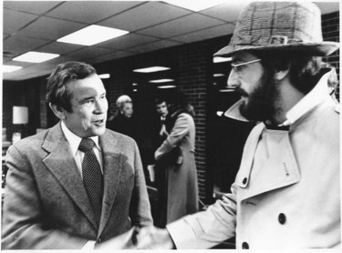 Actual untouched photograph taken in the Des Moines airport in January 1980. Why am I meeting with then-Senator, later White House Chief of Staff Howard Baker? And why am I in disguise?