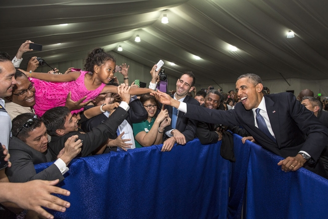 The president in the Philippines -- reaching out, engaging with the world.