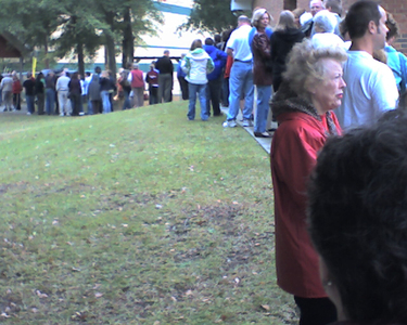 The queue at my polling place, November 2008.