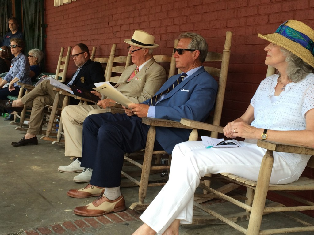 It was very warm -- a good day to be a speaker, and have a seat in the shade. That's John Land in the hat.