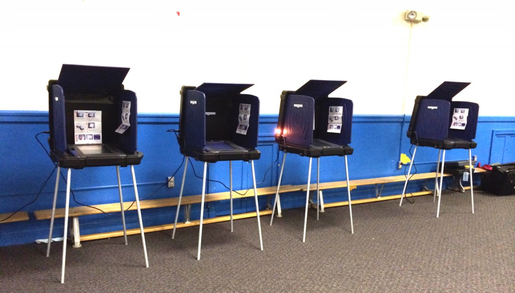 Thus stood the lonely voting machines at 12:59 p.m. today at A.C. Moore Elementary School.