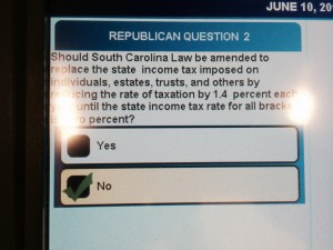 One of the questions on my ballot. (Sorry about the glare.)