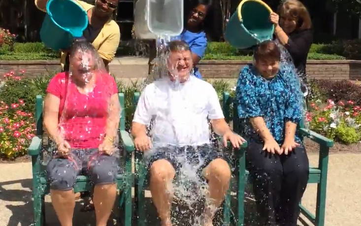 Top staff at the Sisters of Charity Foundation, accepting the challenge last week.