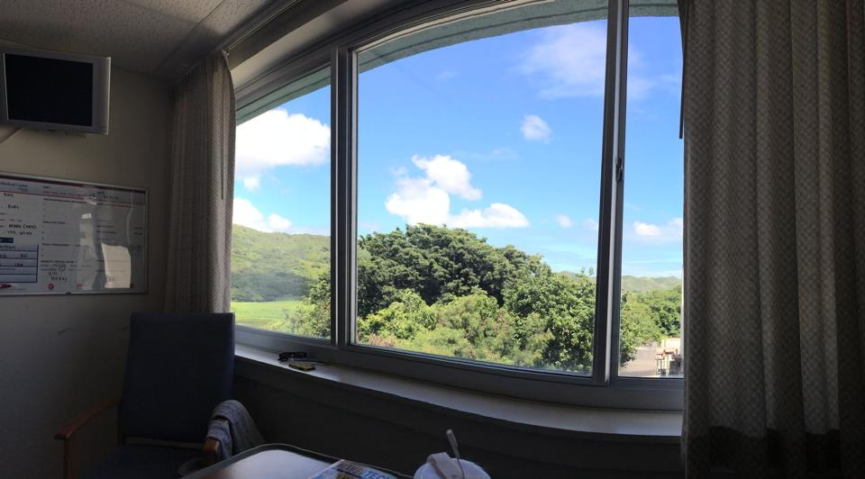 At least he had a nice view from his hospital room in Kailua.