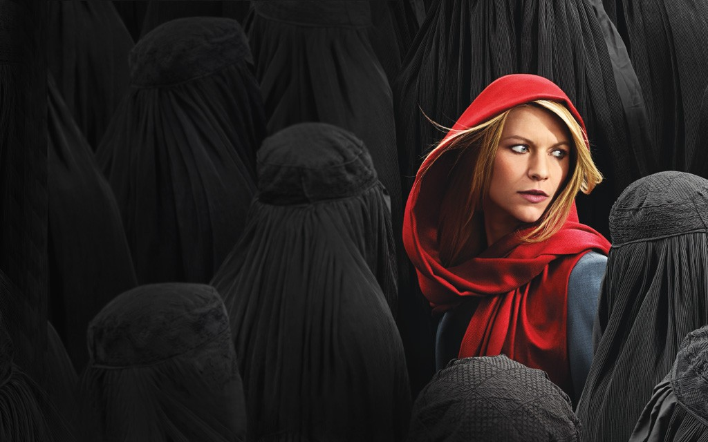 This promotional image brings to mind one of the oddest things about this series -- the way this blonde woman so often walks down the streets of Islamabad without attracting a single curious glance, her only disguise being a scarf loosely draped over her head.