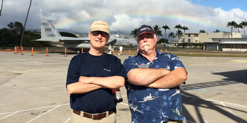 On Ford Island, in the middle of Pearl Harbor, with Burl Burlingame.
