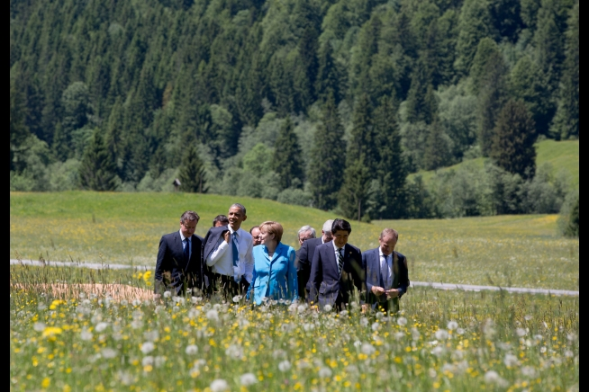 The Hills are Alive with the Sound of Schmoozing: POTUS and the other G7 leaders, wandering in a field in Bavaria. There's a metaphor here somewhere...