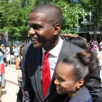One after another person in the crowd wanted her picture taken with Bakari Sellers.