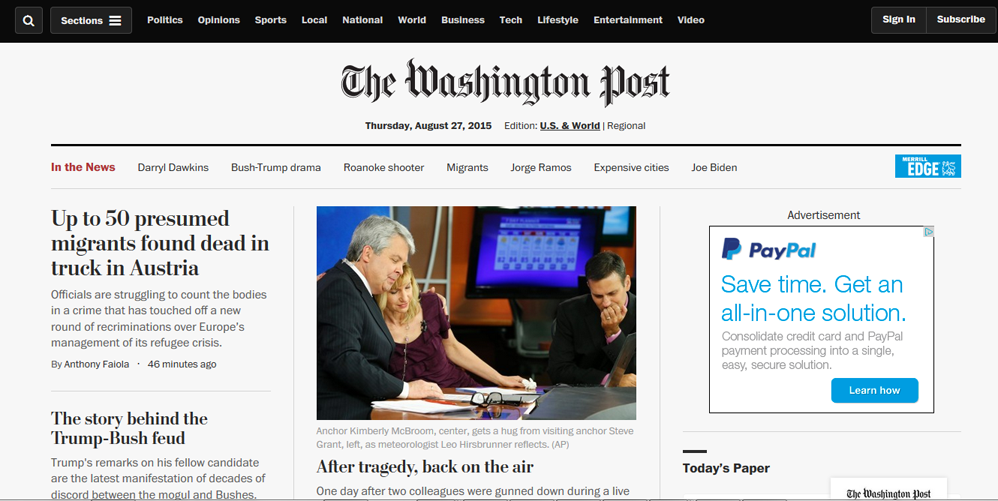 The Washington Post unveiled a spiffy new browser interface today. Not sure I like it -- I think I could see more headlines on the screen with the old one.