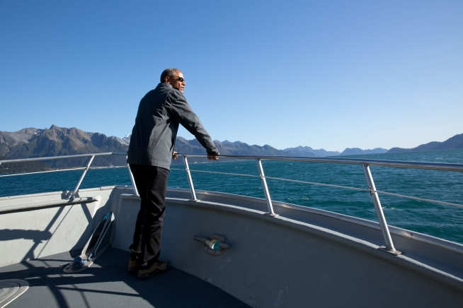 North to Alaska: POTUS checks out some fjords.