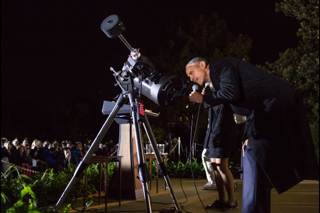 Is the president seeking intelligent life? I notice the telescope is NOT aimed at the Capitol...