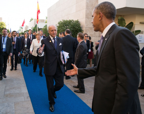 President Barack Obama welcomes Foreign Minister Laurent Fabius of France before meeting with European leaders on the sidelines of the G20 Summit in Antalya, Turkey, to discuss the terrorist attacks in Paris, Nov. 16, 2015. (Official White House Photo by Pete Souza)