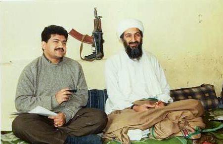 Bin Laden in 1997, being interviewed by a Pakistani journalist.